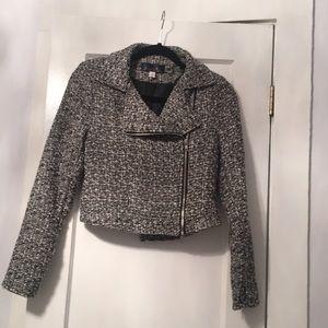 Blue Rain Cropped Tweed Moto Jacket Sz S